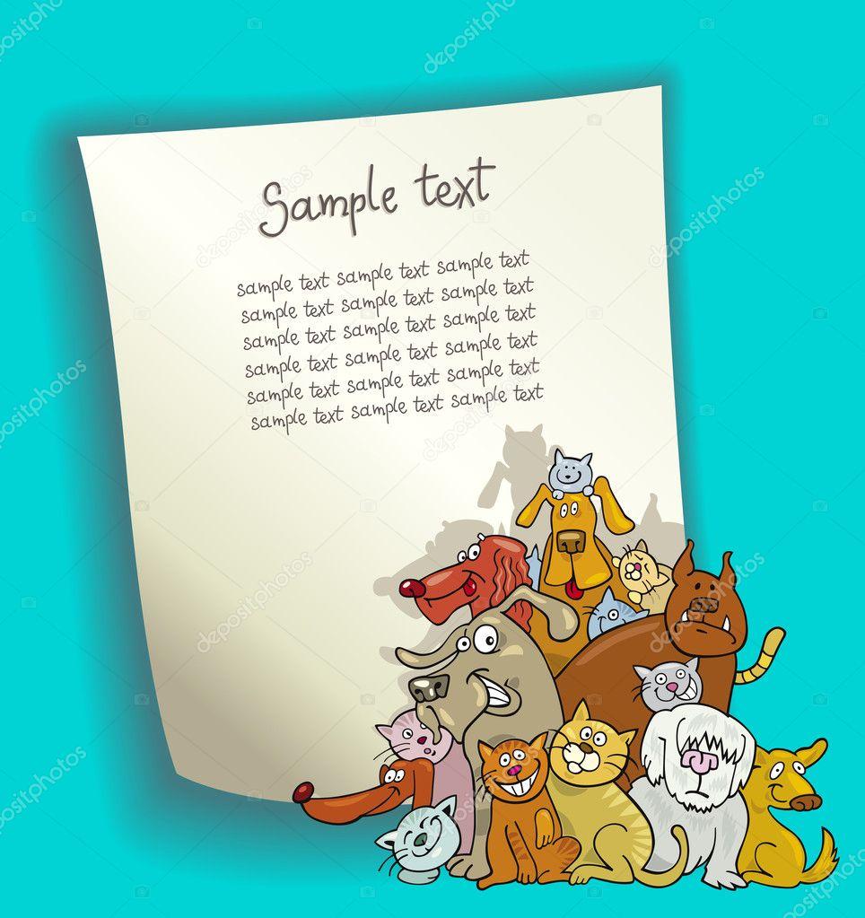 Design del cartone animato con cani e gatti — vettoriali