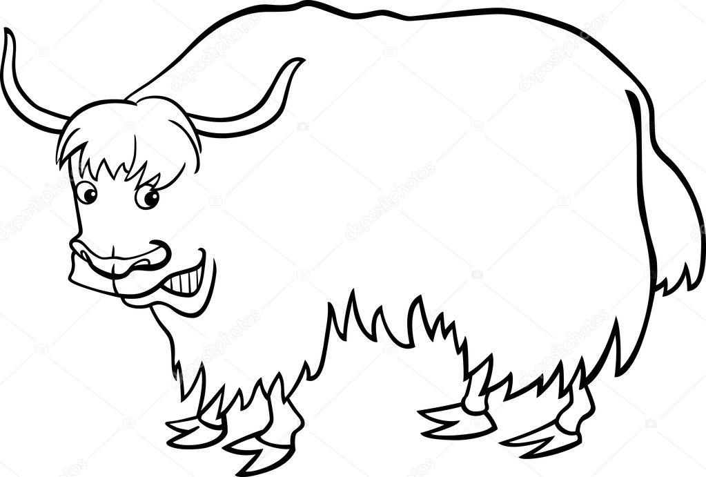 yak coloring page - cartoon yak for coloring book stock vector izakowski