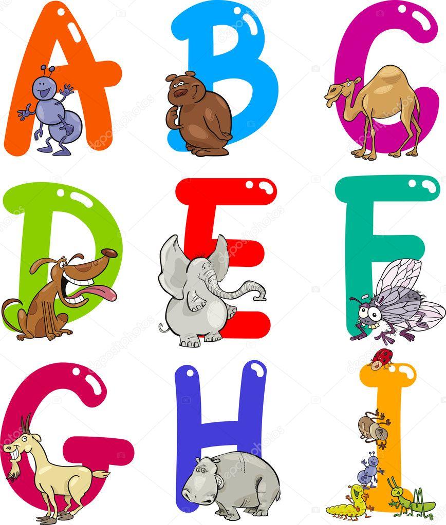 Alfabeto di cartone animato con animali — vettoriali stock