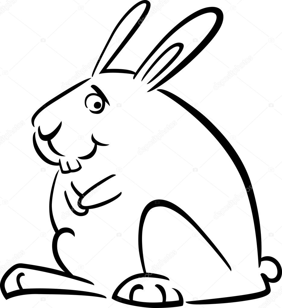 doodle de dibujos animados de conejo para colorear — Archivo ...