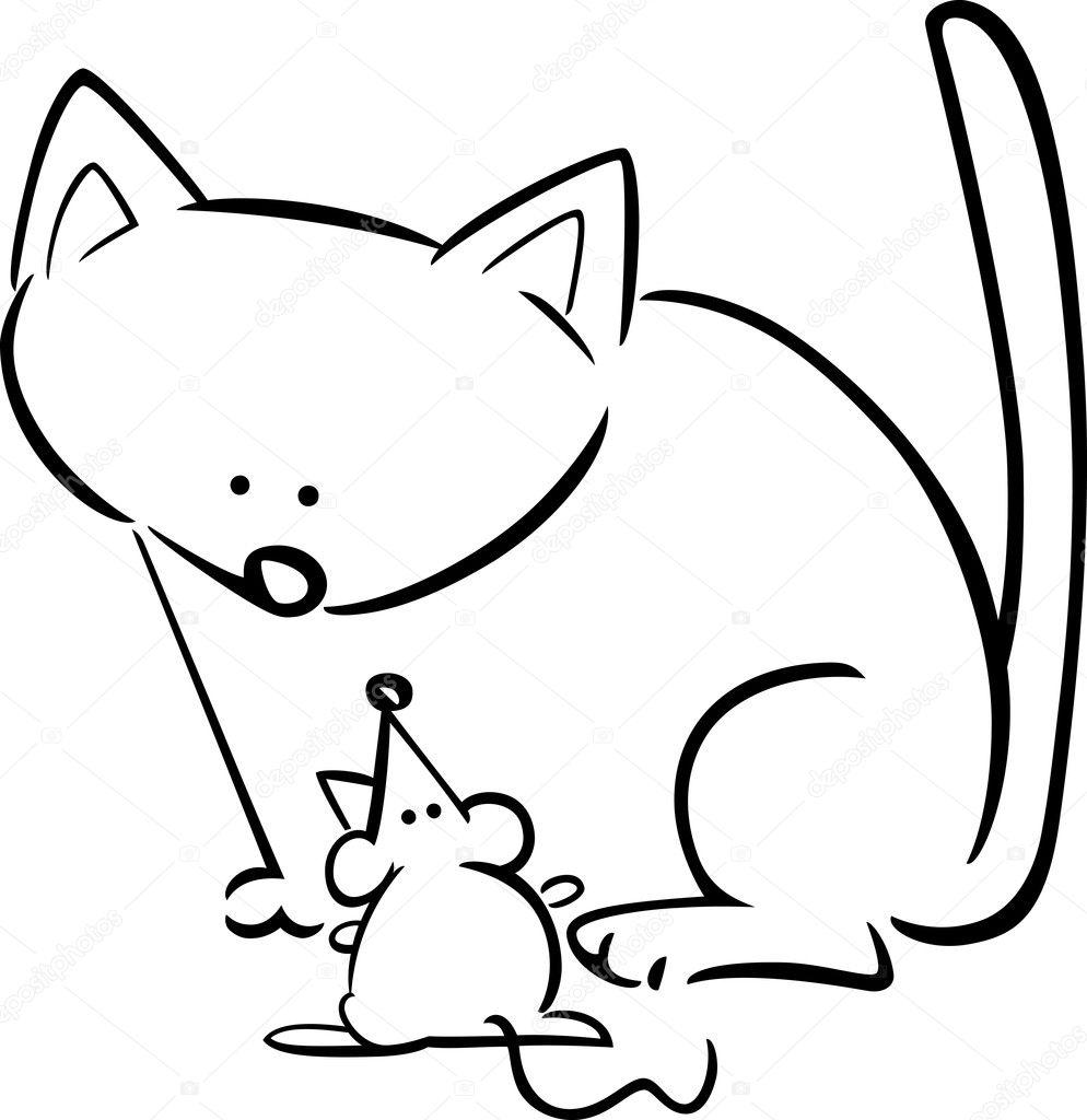 doodle de dibujos animados del gato y el ratón para colorear ...