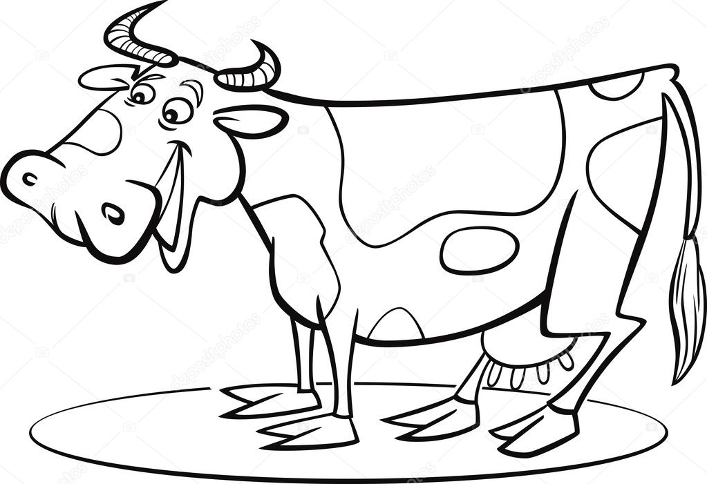 cartoon cow coloring page stock vector 9491432