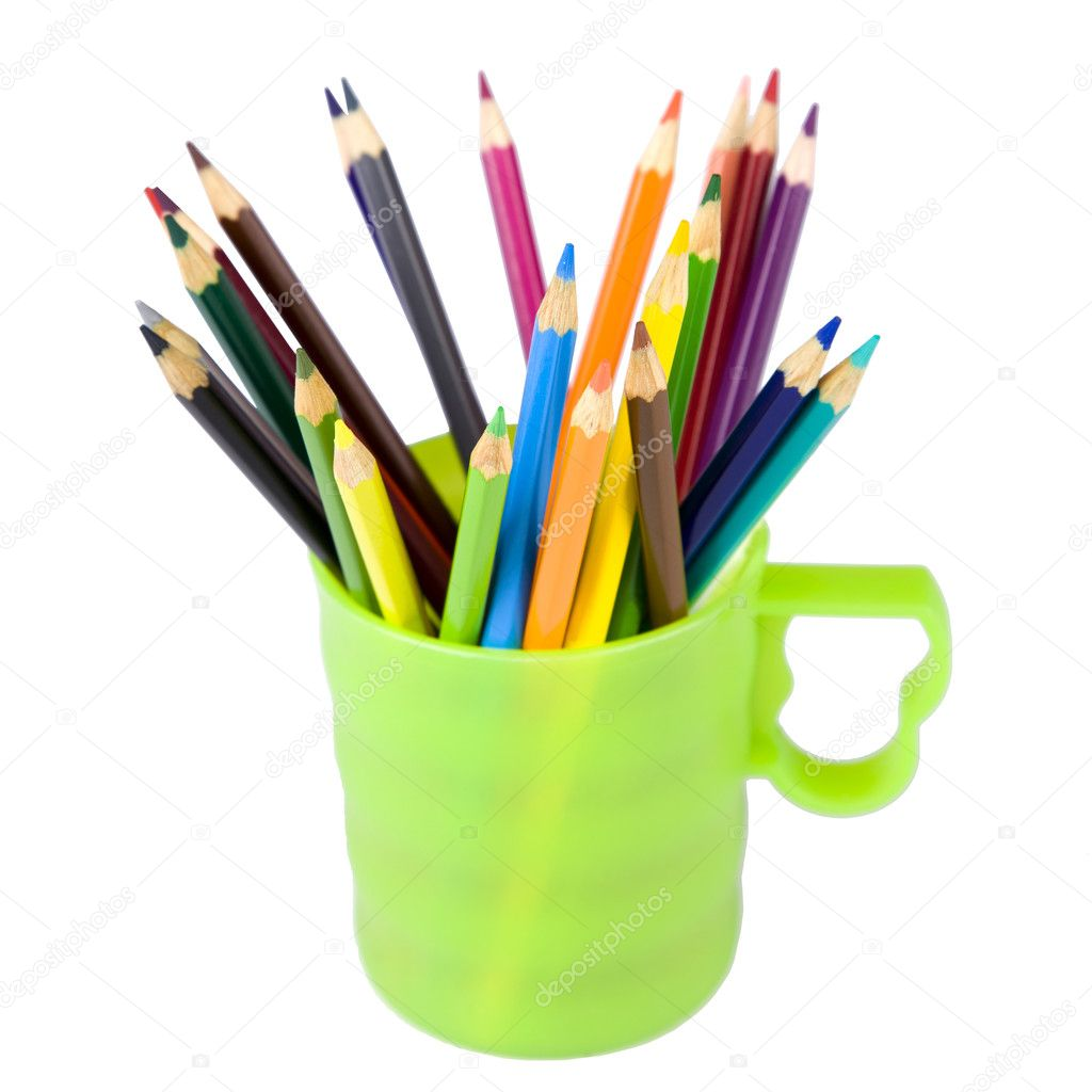 Colored pencils are in a green cup