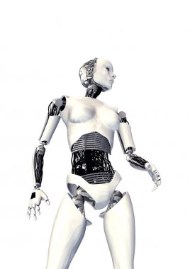 Cyber woman isolated