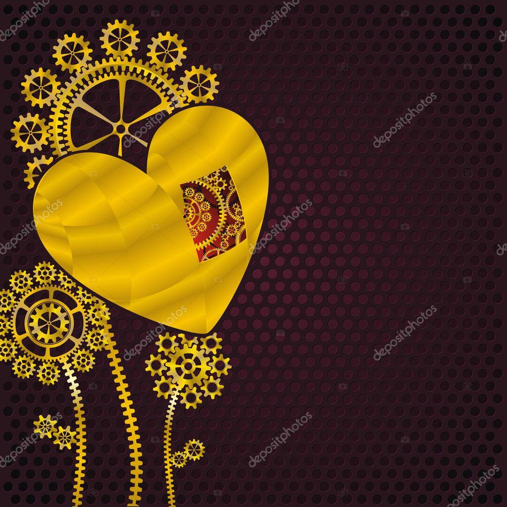 Golden heart and gear flowers