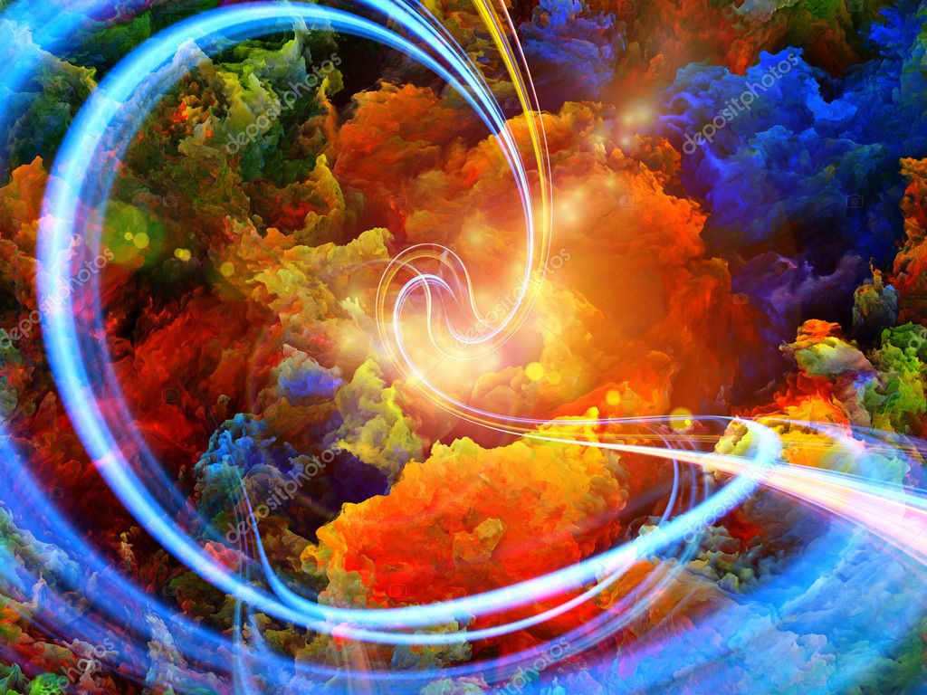 Abstract landscape of colorful fractal foam, light trails and lights suitable as a backdrop for art, music, fantasy and imagination related projects stock vector