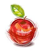 Fotografia disegno di una mela rossa con verde foglio - schizzo