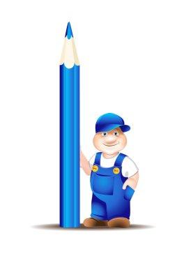 Worker cartoon in overalls, keeps pencil