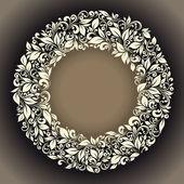 kulatý rám od květinový vzor ve stylu retro
