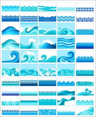 Set from 50 topics with stylized waves