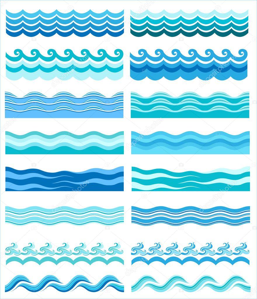 Set - seamless sea waves