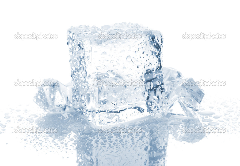 Small And Big Ice Cube With Water Drops Stock Photo