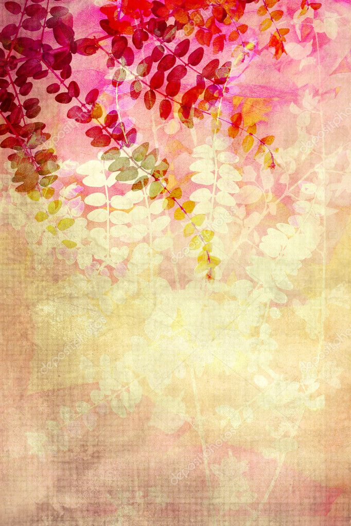 Red leaves decorative grunge background