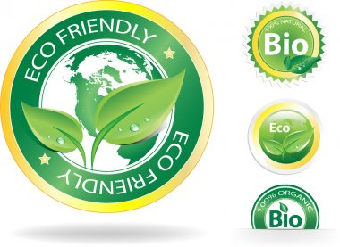 This image is a vector file representing a collection of 4 eco/bio badges, all the elements can be scaled to any size without loss of resolution. stock vector