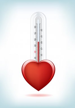 This image is a vector file representing a 3d Heart Thermometer, all the elements can be scaled to any size without loss of resolution. clip art vector