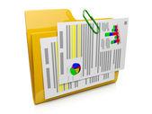 Fotografie 3D Ordner-Symbol mit den Dokumenten auf dem Computer funktionieren syst