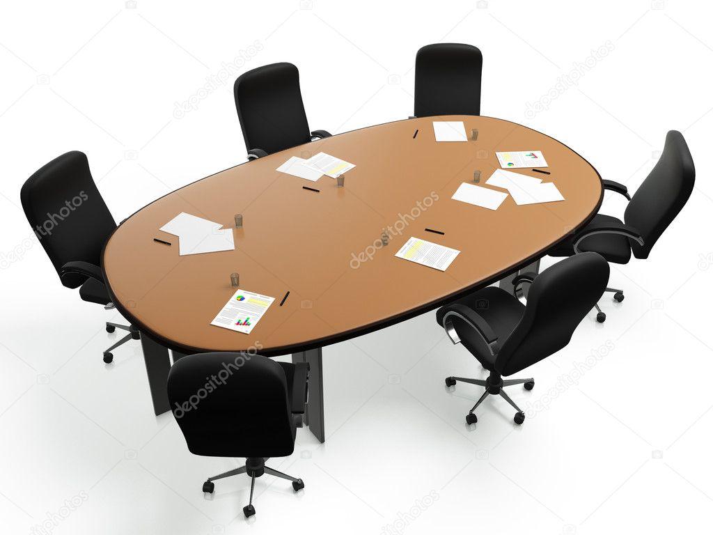 D beelden een grote ronde tafel met stoelen in een cirkel op een