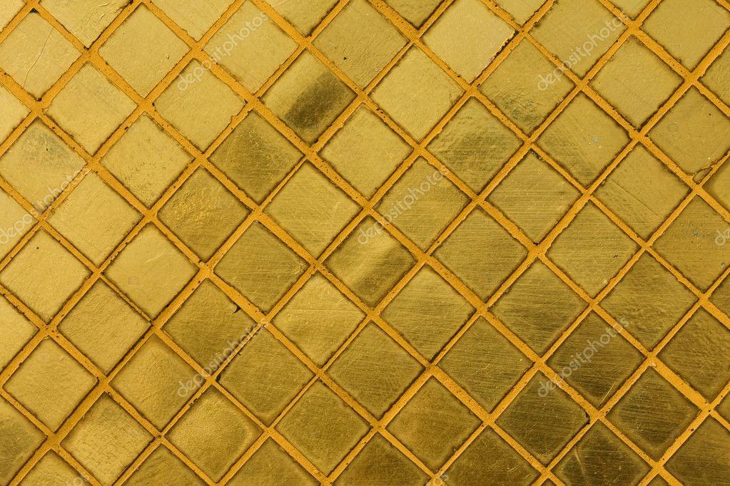 Gouden Mozaiek Tegels : Gouden tegel mozaïek achtergrond u stockfoto posterize