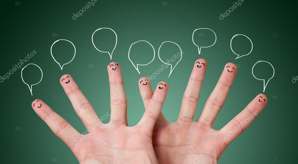 Funny finger smileys with bubbles