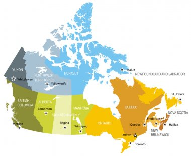 Map of provinces and territories of Canada