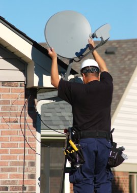 Satellite dish worker
