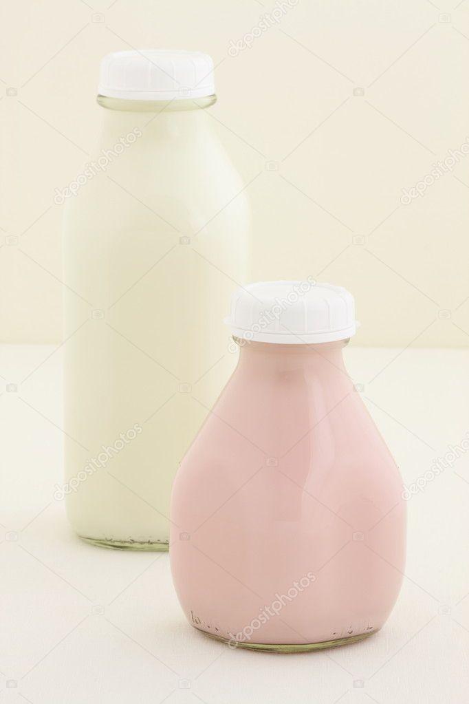 Strawberry milk pint and quarter milk bottle