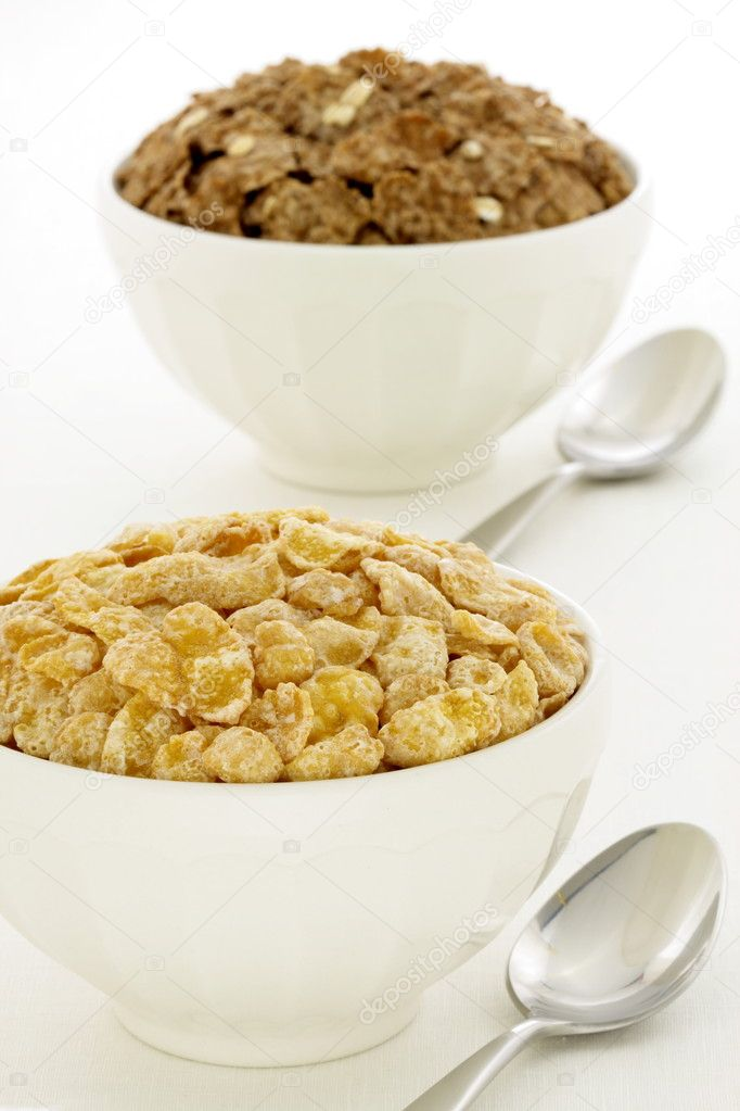 Delicious and healthy frosted cornflakes and bran flakes