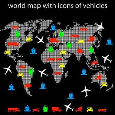 World map with icons of transport for traveling