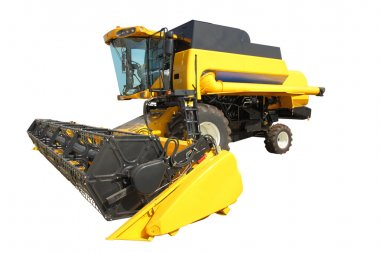 Combine harvester on a white background