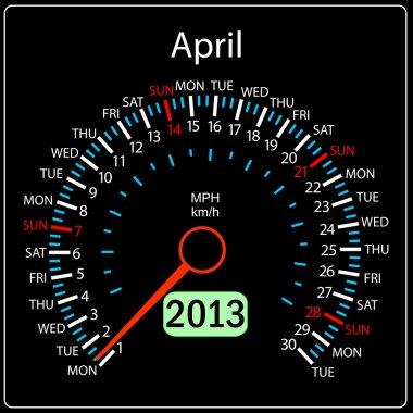 2013 year calendar speedometer car in April