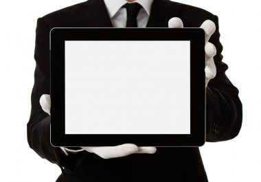 Elegant man holding blank digital tablet