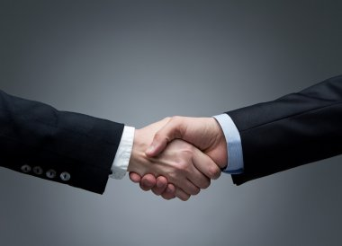 Woman and men shaking hands stock vector