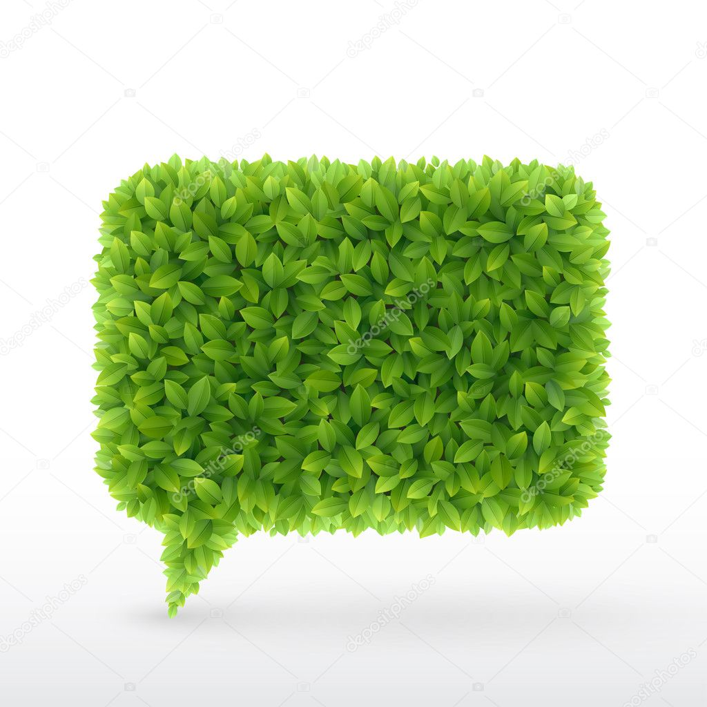 Bubble for speech Green leaves.