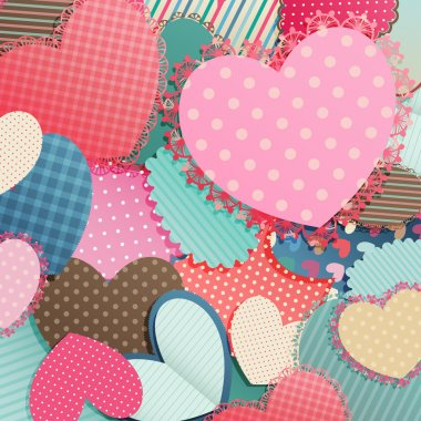 Valentines Day card with pile of paper hearts and place for text. clip art vector
