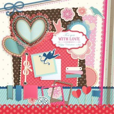 Valentine`s Day scrapbook elements. Vector illustration. clip art vector