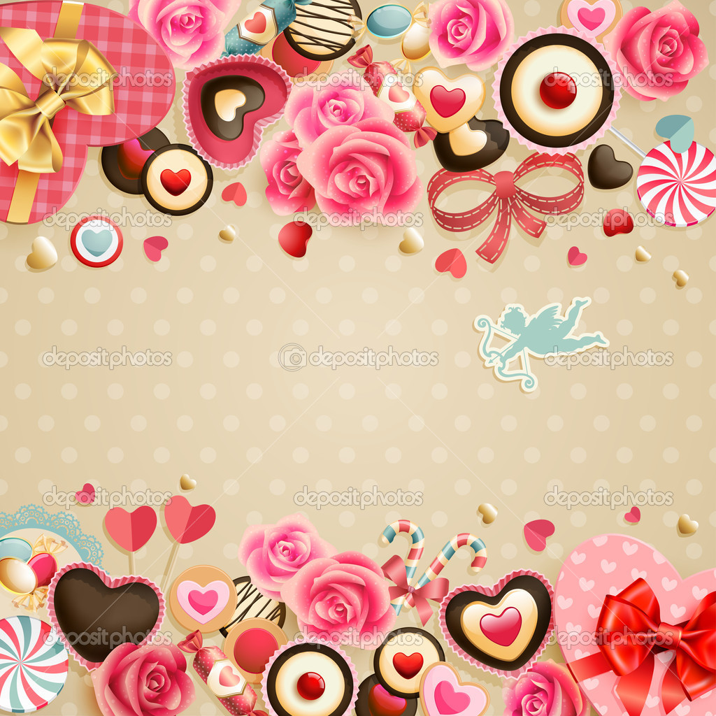 Valentine`s Day vintage card