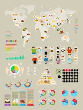 Food Infographic set with colorful charts
