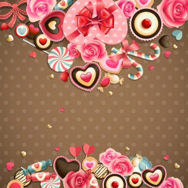Valentine`s Day vintage card with sweets