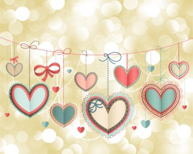 Valentine`s Day vintage card with lacy paper hearts and place for text. clip art vector