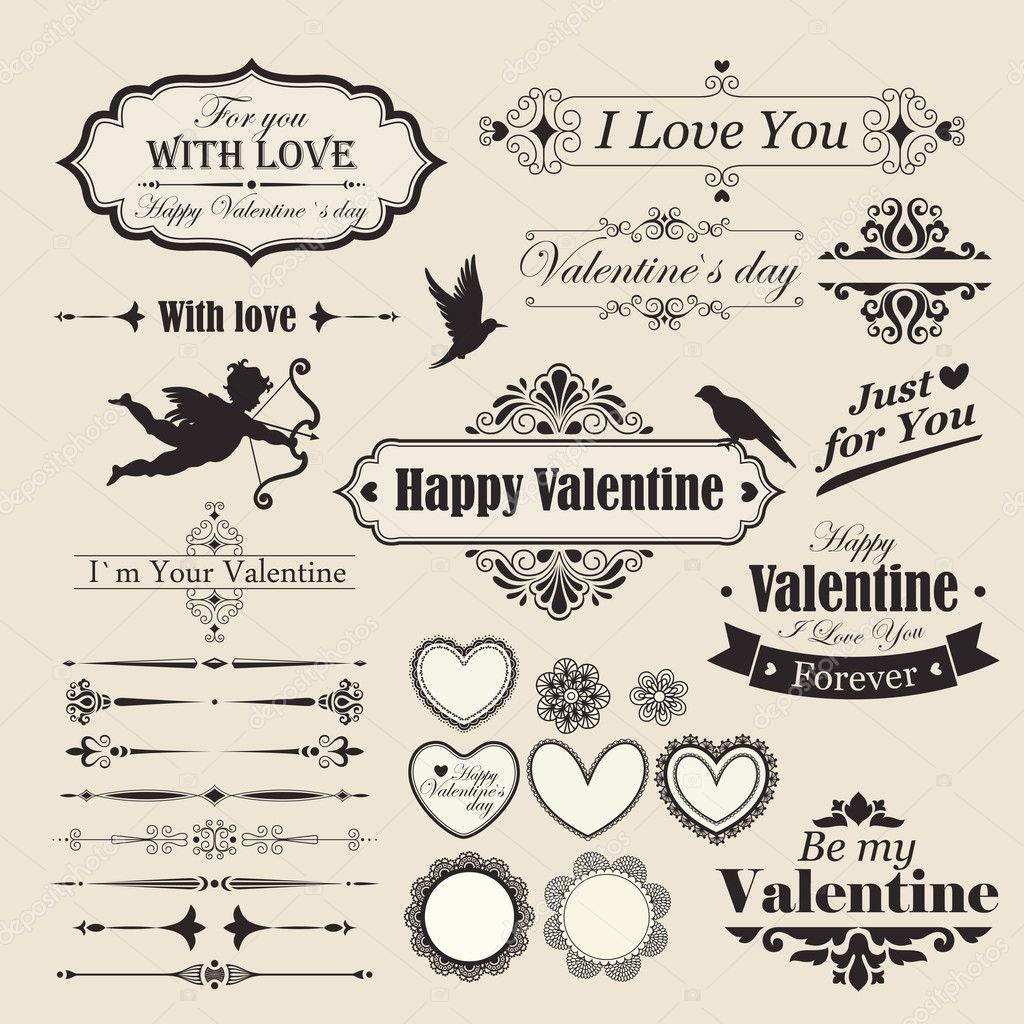 Valentine`s Day vintage design elements