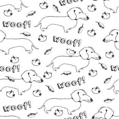 Dogs and birds seamless pattern