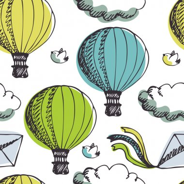 Hot Air Balloons and birds background