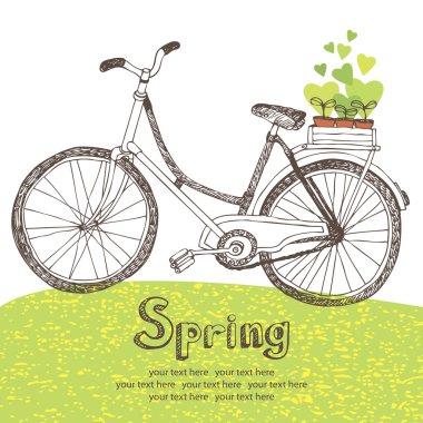 Vintage bicycle with spring seedlings