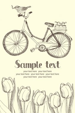 Vintage bicycles and flowers card