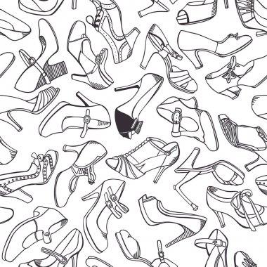 Women`s vintage shoes pattern