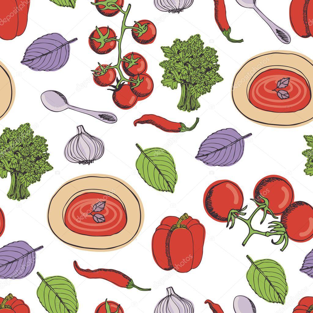 Tomato soup seamless pattern
