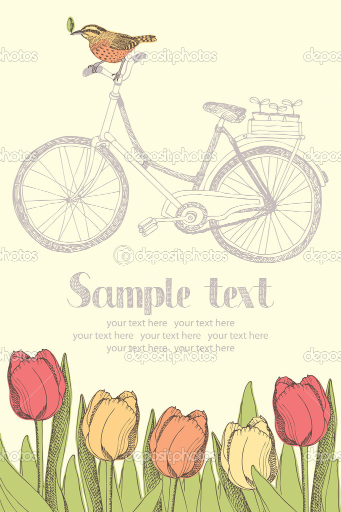 Vintage bicycles and tulips card