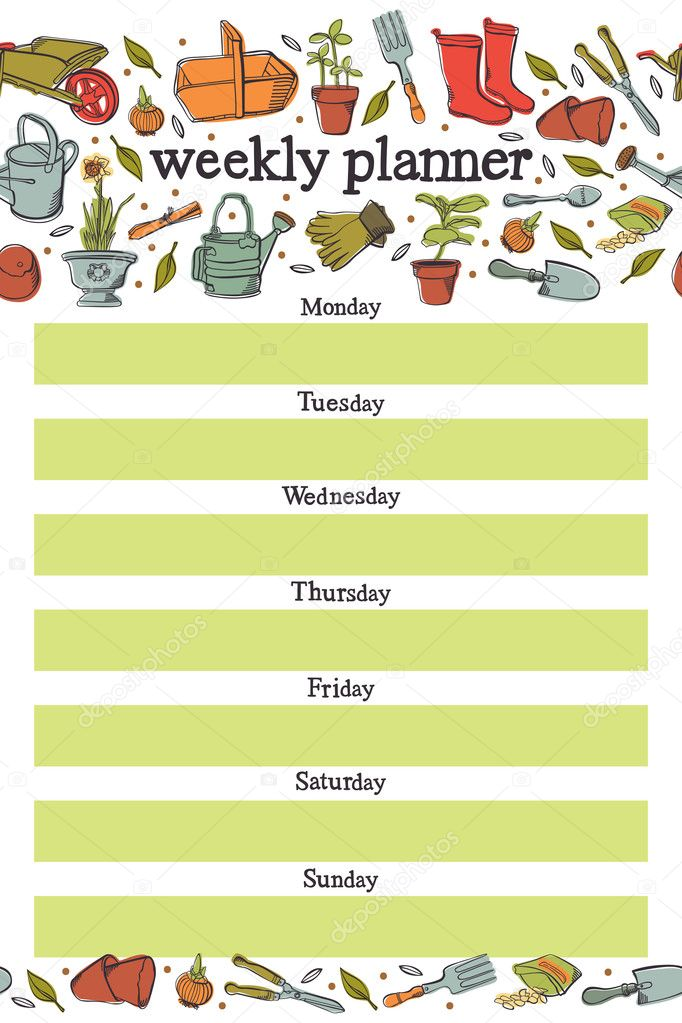 Weekly planner. Spring planting