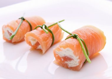 Appetizer, salmon roll with cheese