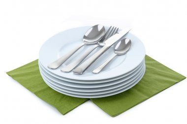 Isolated pile of plates and cutlery